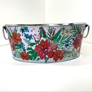 """Mainstays White Floral Oval Tub 14"""" x 9.5"""" x 5.5"""""""